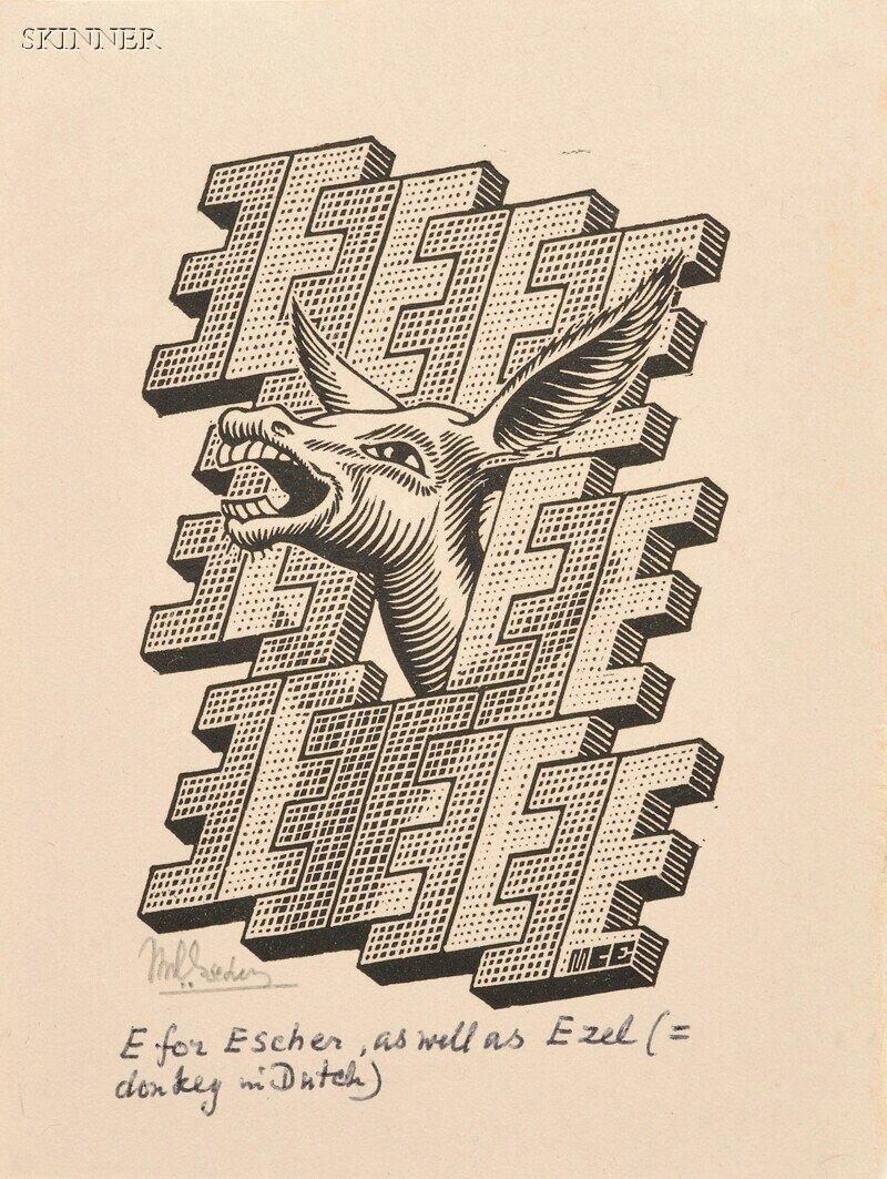 44: M. C. Escher (Dutch, 1898-1972) Two Alphabet Images