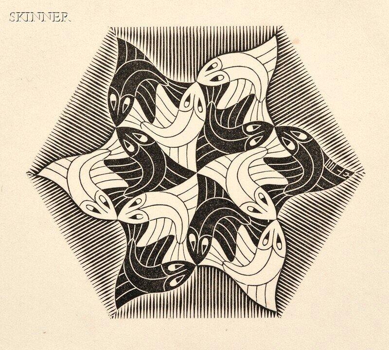 45: M. C. Escher (Dutch, 1898-1972) Two Vignettes: Fish