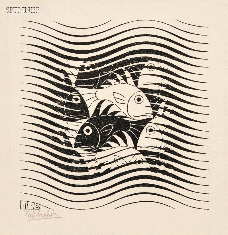 46: M. C. Escher (Dutch, 1898-1972) Fish, 1963 (Bool et