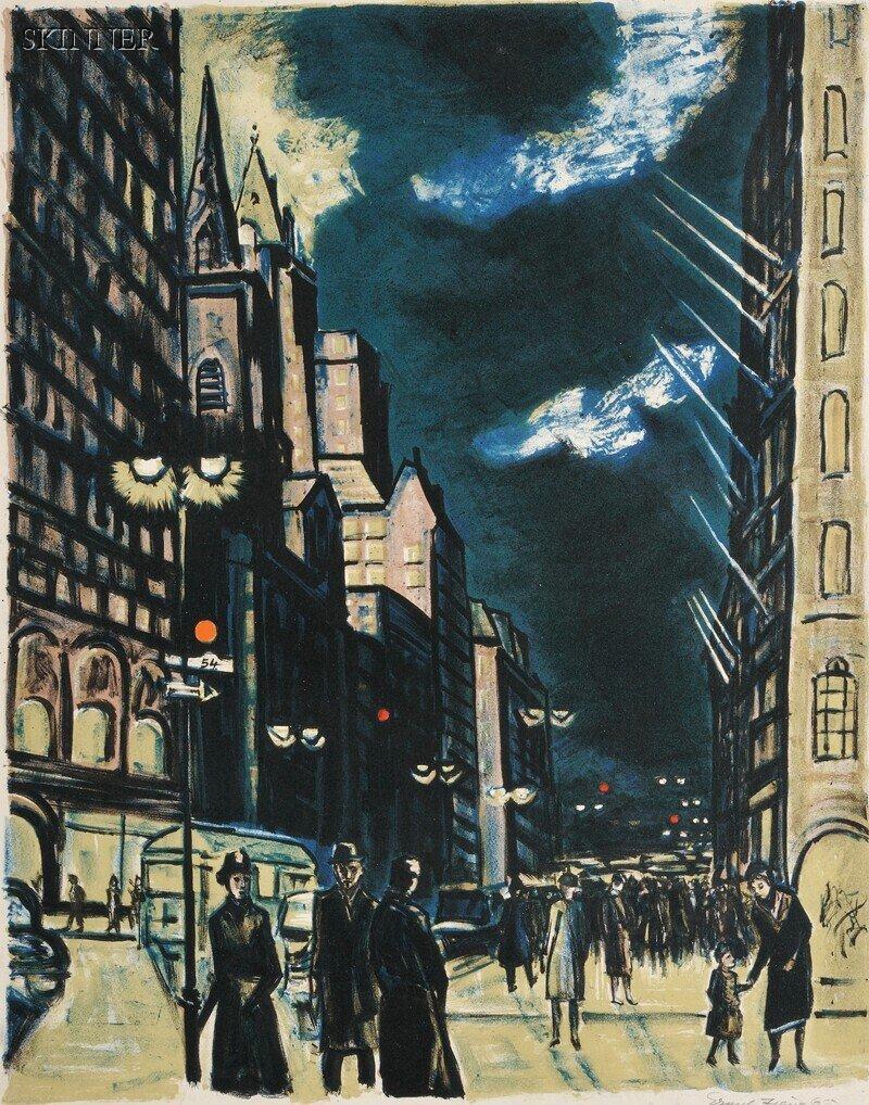 48: Ernest Fiene (American, 1894-1965) Fifth Avenue Eve