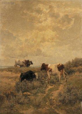 Hermann Baisch (German, 1846-1894) Cows Grazing In