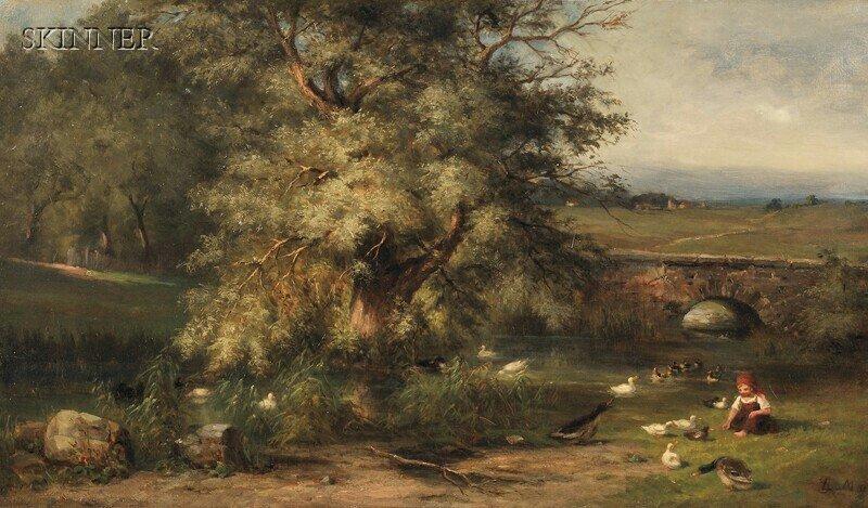 269: Ludwig Sckell (German, 1833-1912) Feeding the Duck