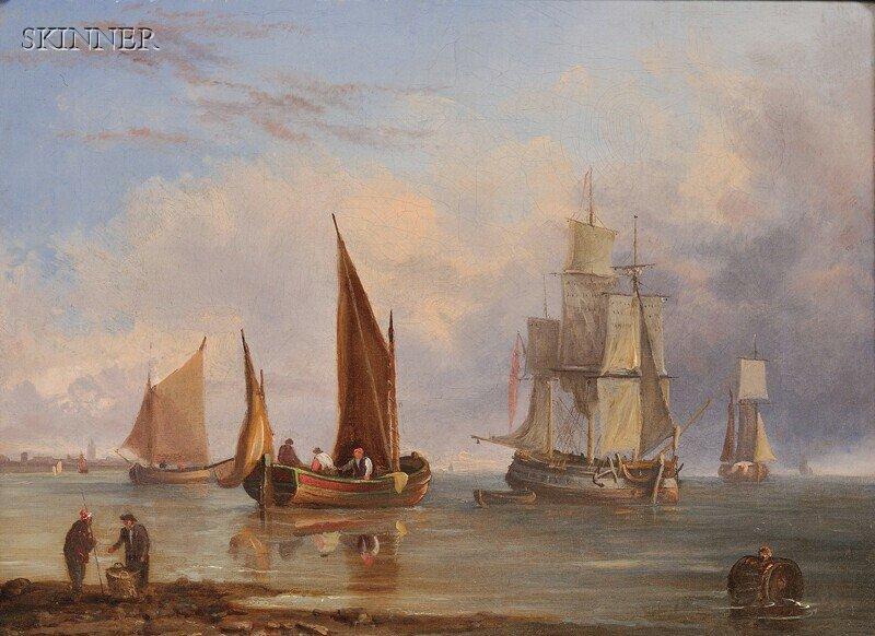 273: John Westall (British, fl. 1840-1880) Ships in Por