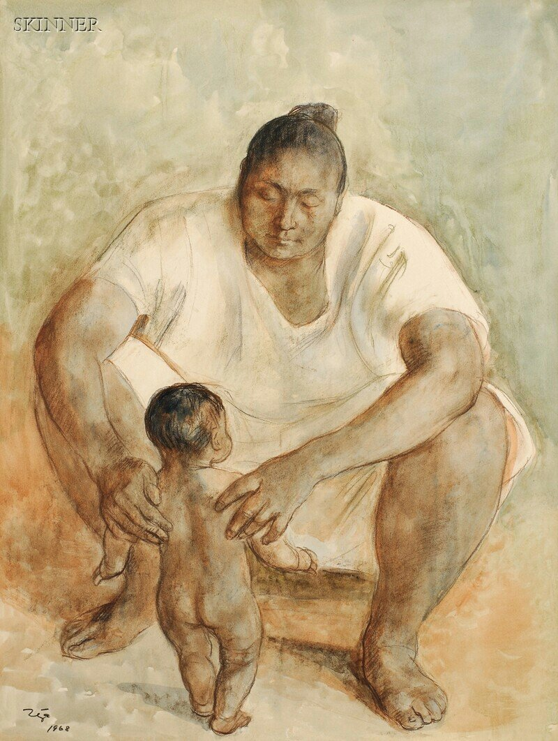 478: Francisco Zúñiga (Mexican, 1912-1998) Mother and C