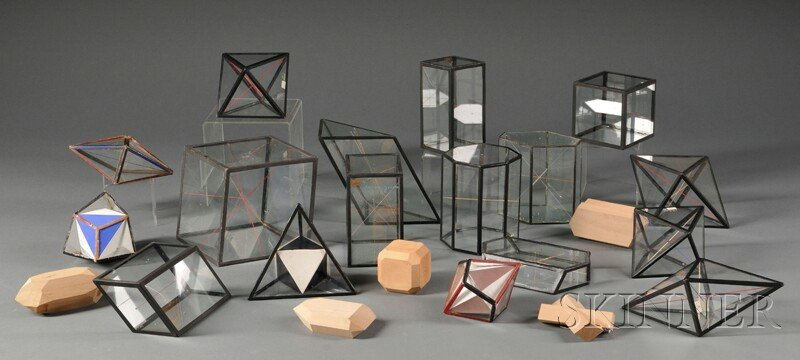 127: Collection of Glass and Wooden Mineral Models, Man