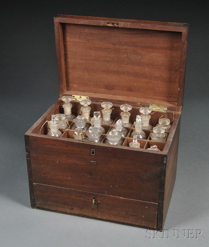 131: Mahogany Dovetailed Apothecary Box, late 19th cent