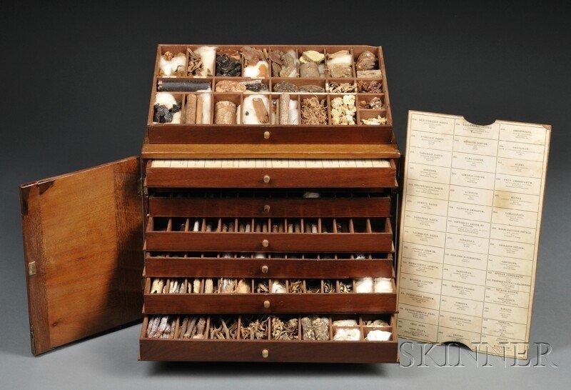 132: Mahogany Herbal Specimen Chest, late 19th century,