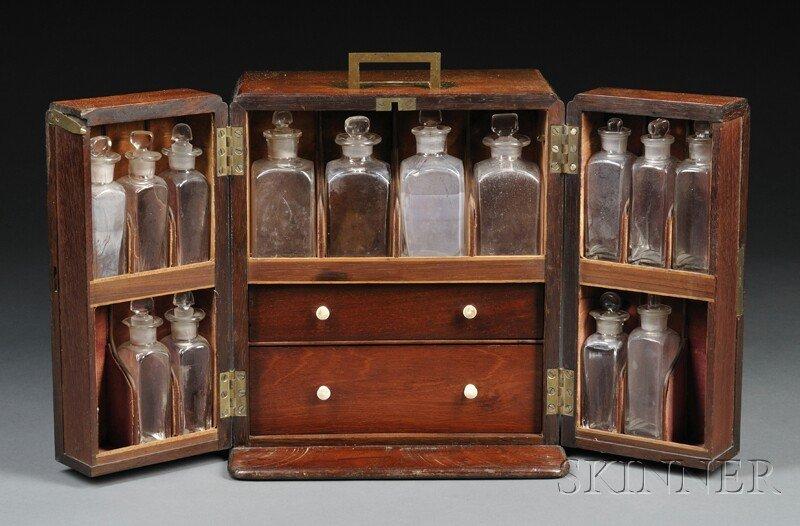 133: Mahogany Traveling Apothecary Cabinet, 19th centur