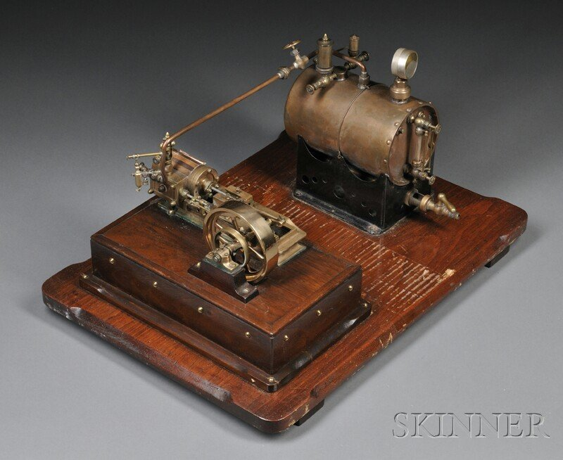 138: Bench Made Stationary Steam Engine, c. 1920, with
