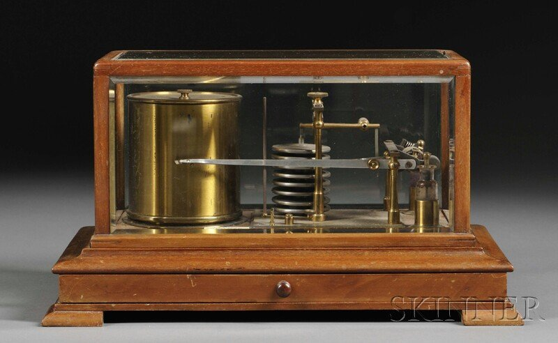 142: F.G. Schmidt Barograph, New York, the mahogany and