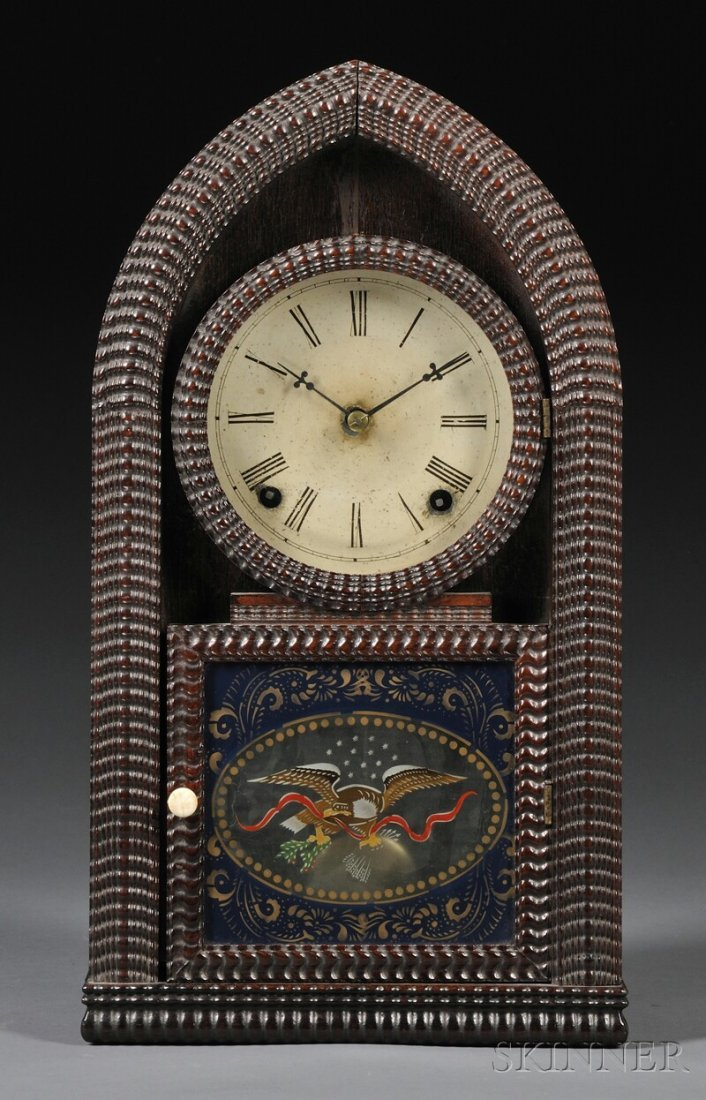 415: J.C. Brown Mahogany Ripple-Molded Beehive Clock, B