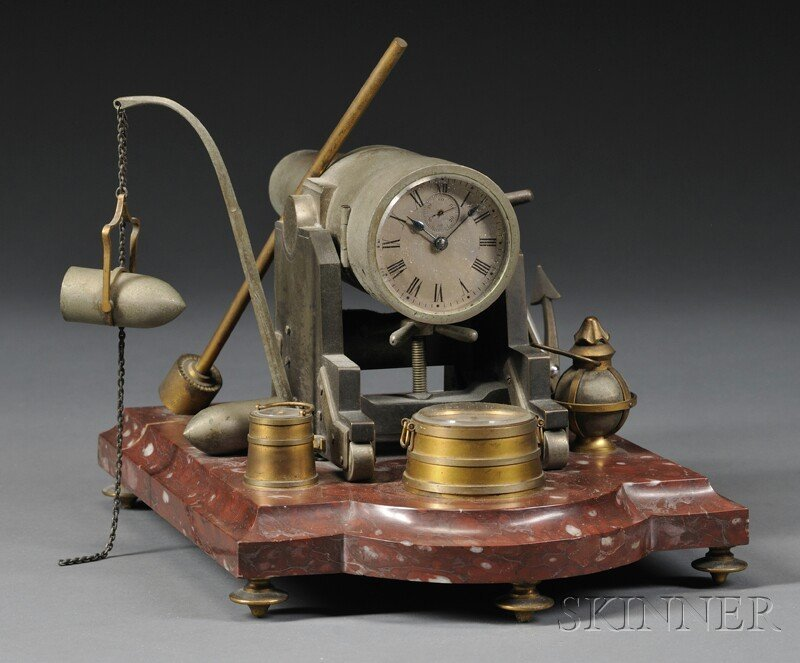 498: French Industrial Cannon-form Clock, c. 1890, cast