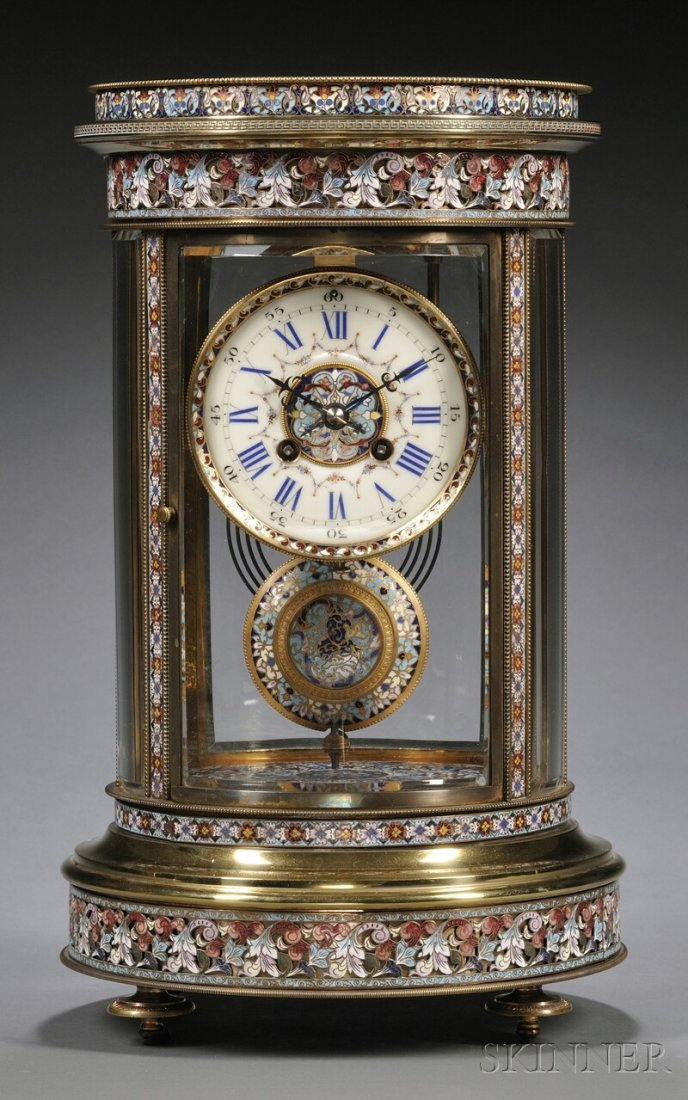 524: French Champleve Crystal Regulator, c. 1890, the r