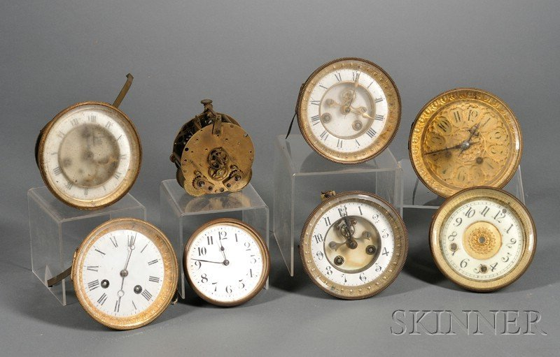 549: Six French Clock Movements Dials and Bezels, and a