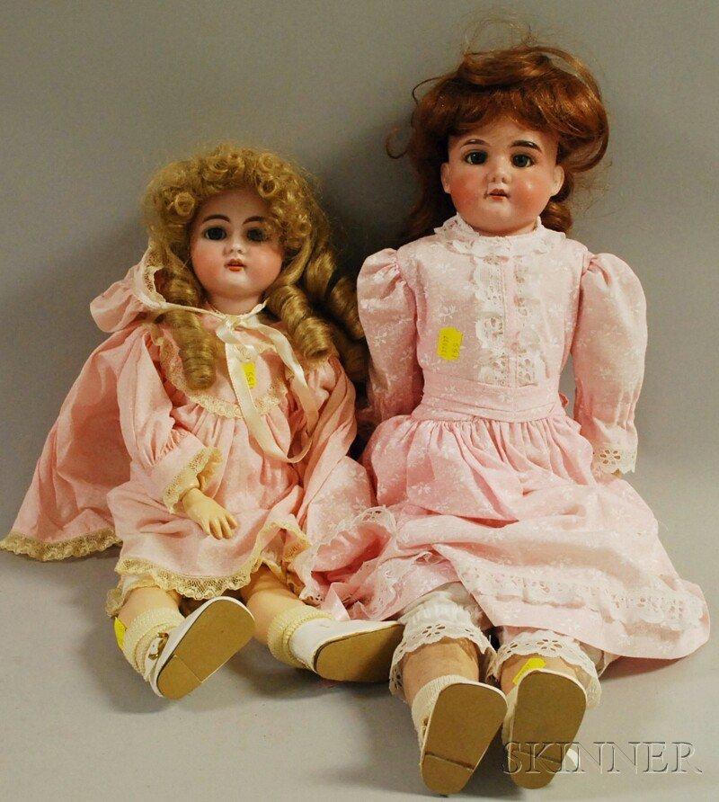 3: Two German Bisque Socket Head Dolls, Handwerck 79, h