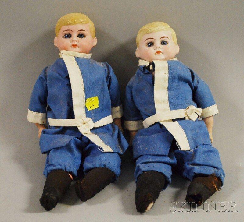 6: Twin American Schoolboy Bisque Shoulder Head Dolls,
