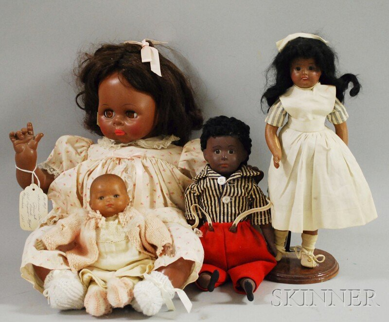 13: Four Miscellaneous Brown Dolls, an Alexander, Unis