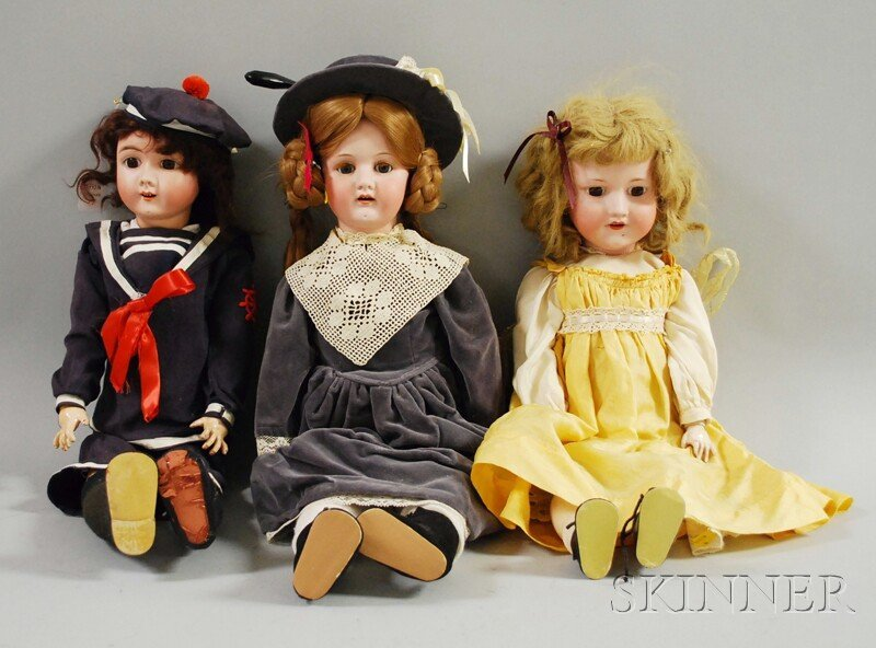17: Three German Bisque Head Dolls, all with open mouth