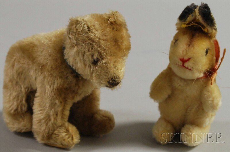 18: Small Steiff Rabbit and Bear, ht. to 5 in.
