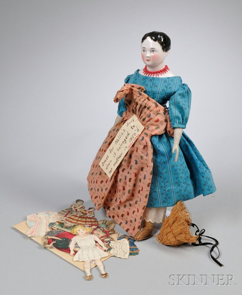 20: Early China Head Doll and Dress and a Group of Pape