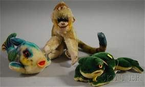 """88: Large Mohair Steiff """"Flossy Fish,"""" """"Froggy Frog,"""" a"""