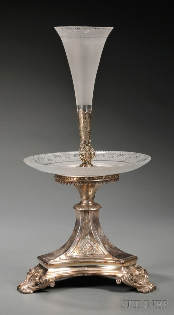 604: Silver-plate and Glass Epergne, 20th century, trum
