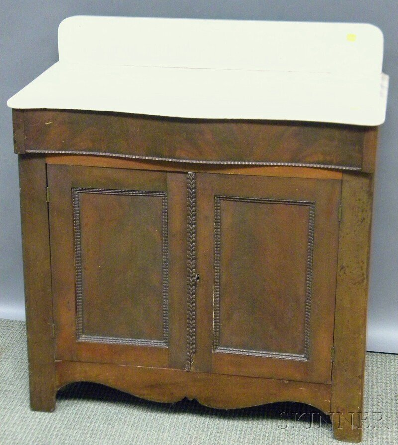 605: Victorian White Marble-top Mahogany Veneer Commode
