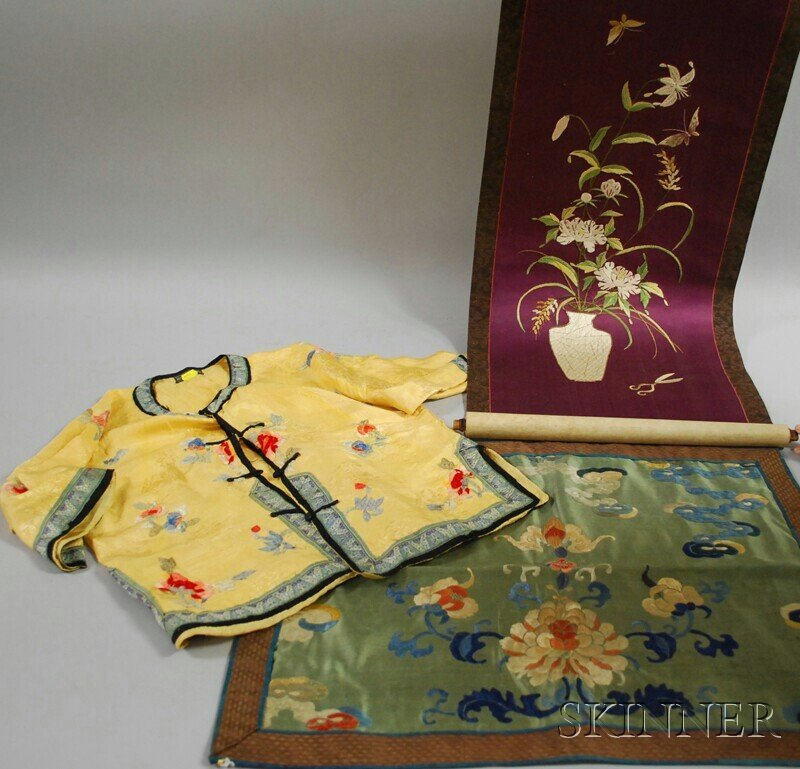 608: Chinese Embroidered Silk Panel and Child's Jacket,