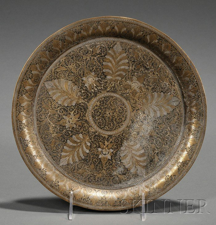 609: Inlaid Brass Plate, Persia, white brass inlaid wit