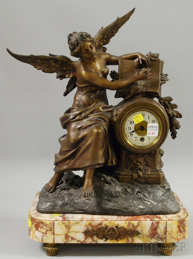 616: French Patinated Metal Statuary Clock, with a seat