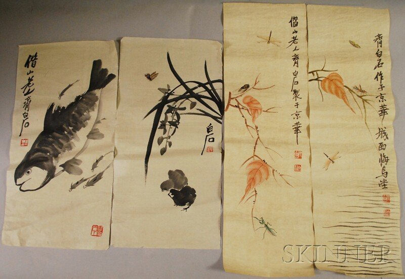 617: Four Unframed Chinese Ink and Watercolor Paintings