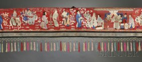 Asian Silk Embroidery, Depicting A Wide Variety Of