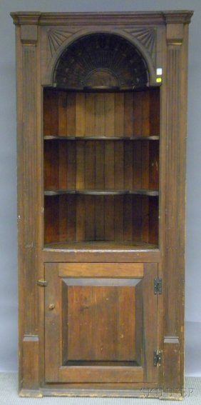 Country Carved Pine Built-in Barrel-back Cupboard,