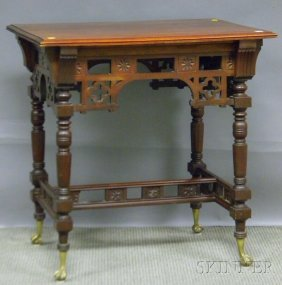 Victorian Eastlake-type Carved Maple Occasional Ta