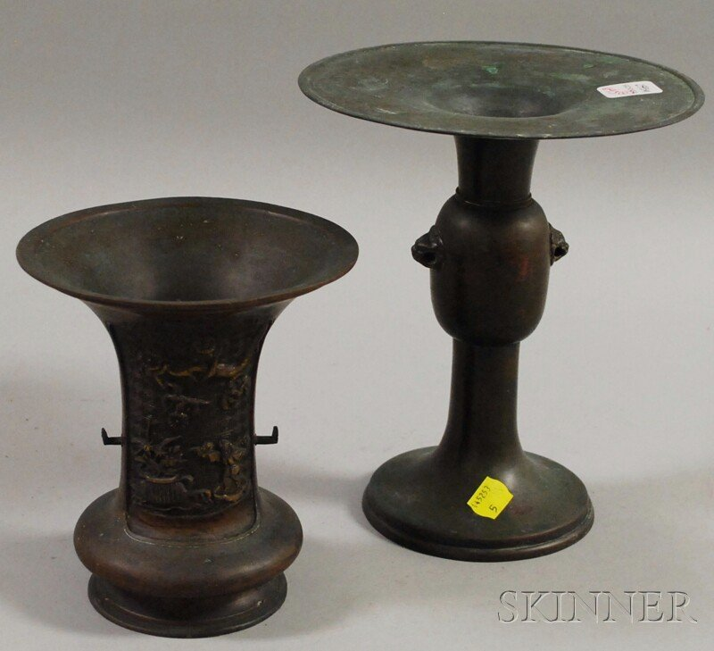 693: Two Japanese Bronze Vases, ht. 6 3/4 and 8 3/4 in.