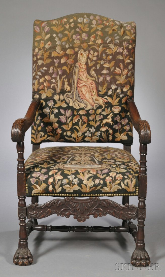 694: Tapestry-upholstered Carved Oak Armchair, early 20