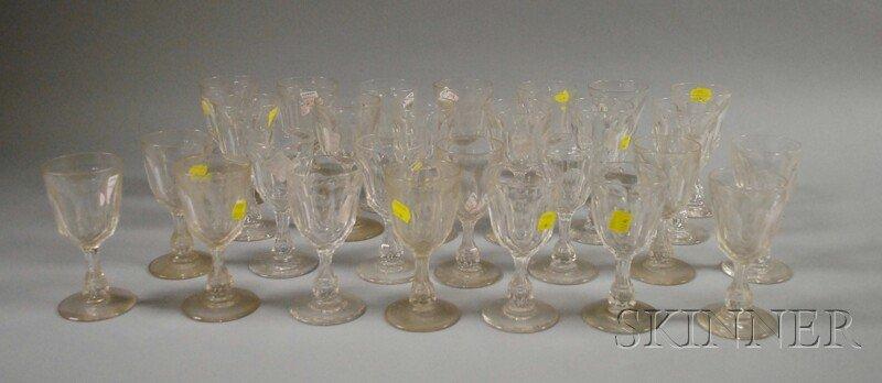 697: Twenty-seven Colorless Cut Glass Stemware Items, m
