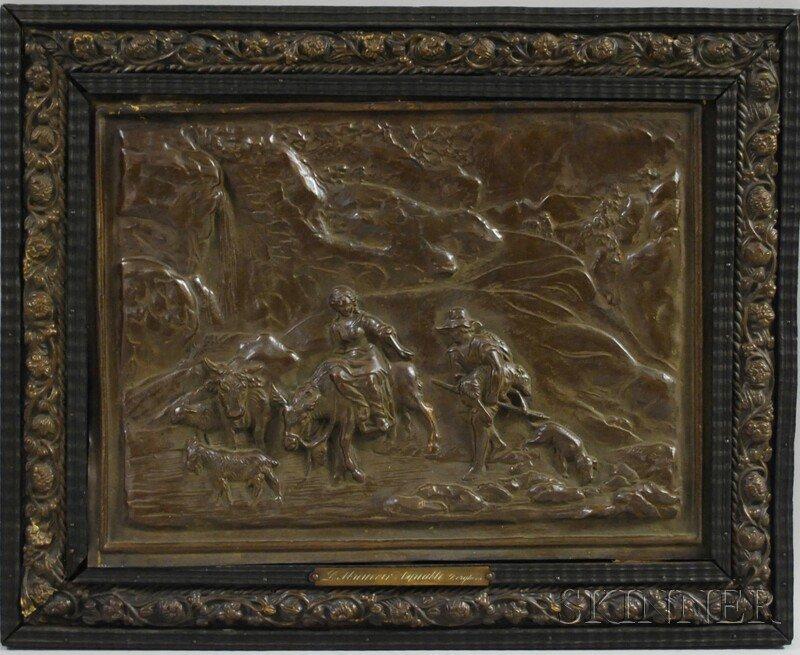 699: 19th Century Patinated Brass Relief Plaque L'Abreu