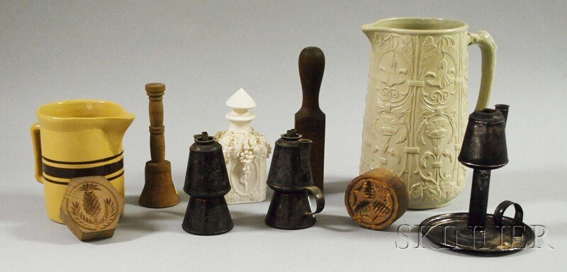 700: Ten Assorted Early Articles, a banded yellowware p