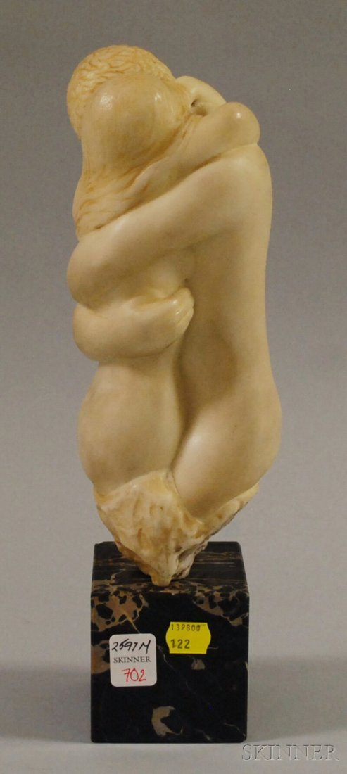 702: Resin Sculpture of Man and Woman Embracing, on squ