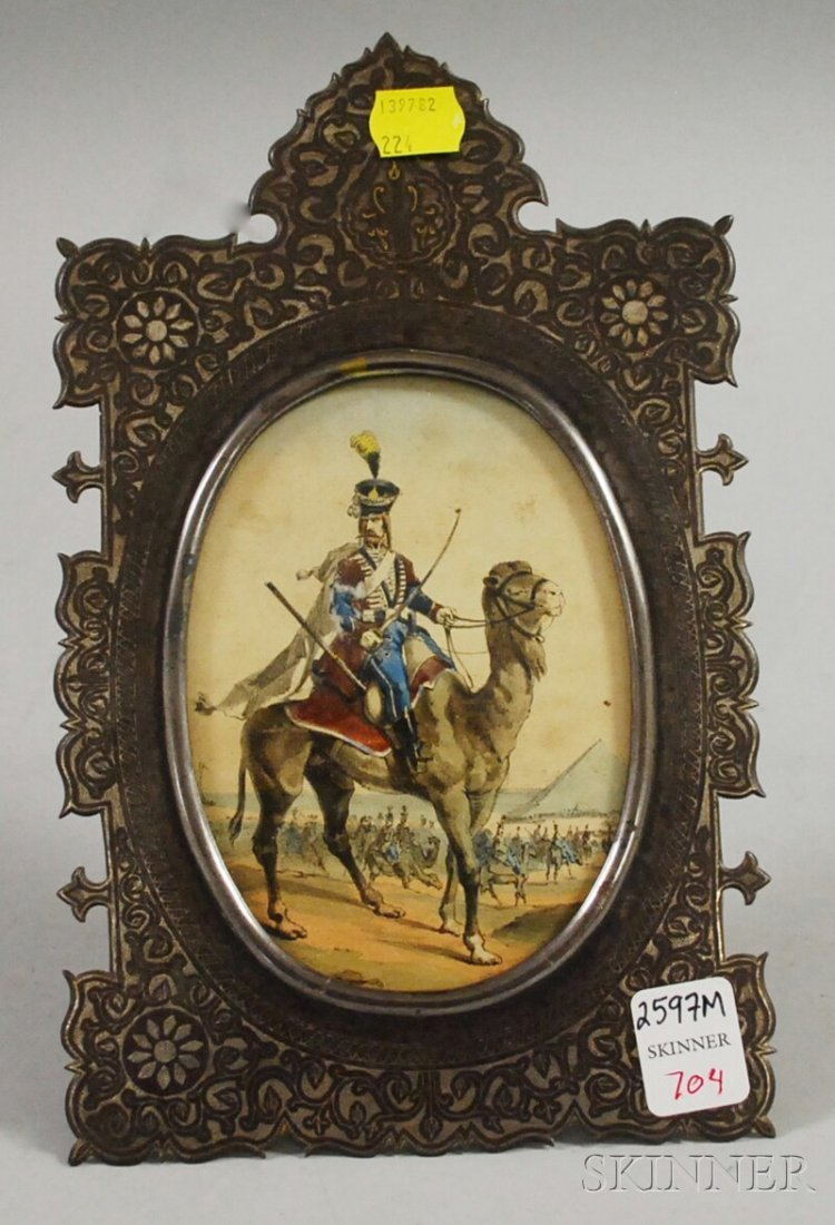 704: Persian-style Silver-inlaid Picture Frame, with ar