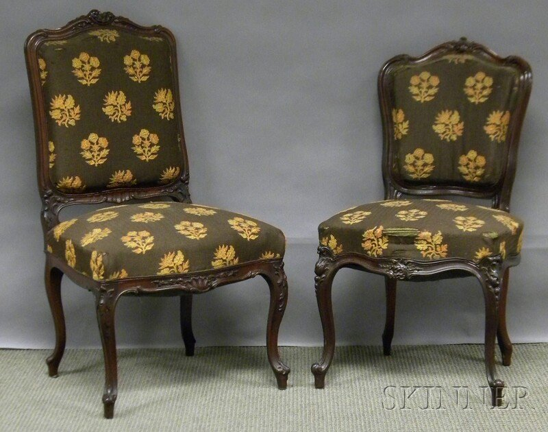 706: Two Rococo Revival Upholstered Carved Rosewood Par