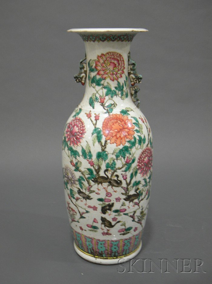 708: Famille Rose Vase, China, 20th century, baluster s