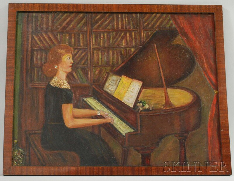 710: Framed Oil on Masonite of a Woman Playing the Pian