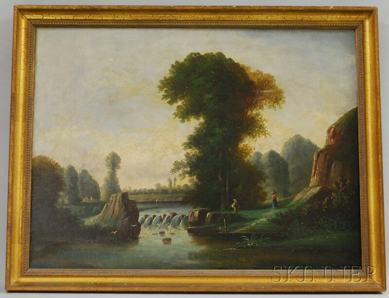711: Framed Oil on Canvas Bucolic Landscape with Figure