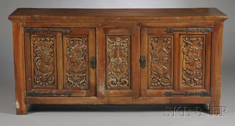 713: Renaissance-style Walnut Credenza, Belgium, late 1