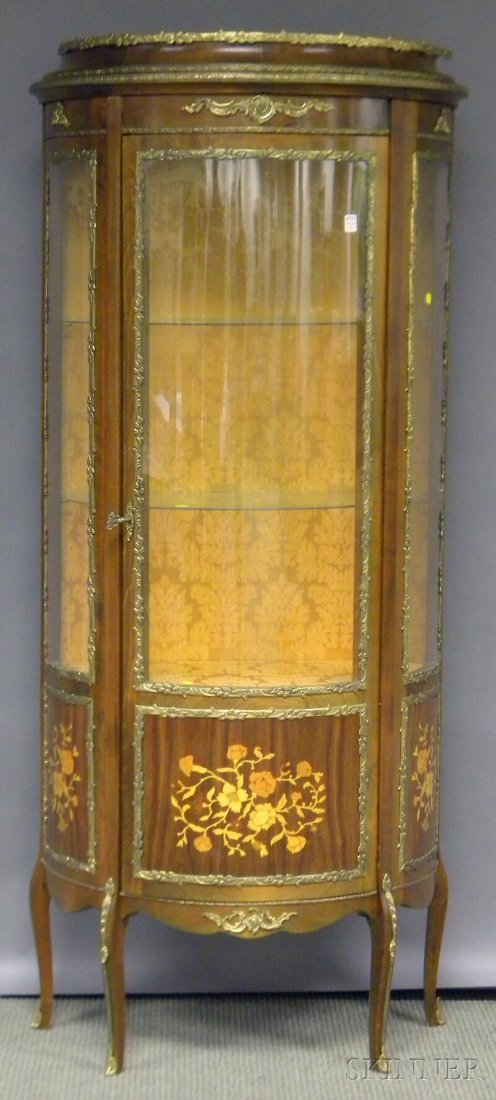 714: Louis XV-style Brass-mounted Inlaid Rosewood and B
