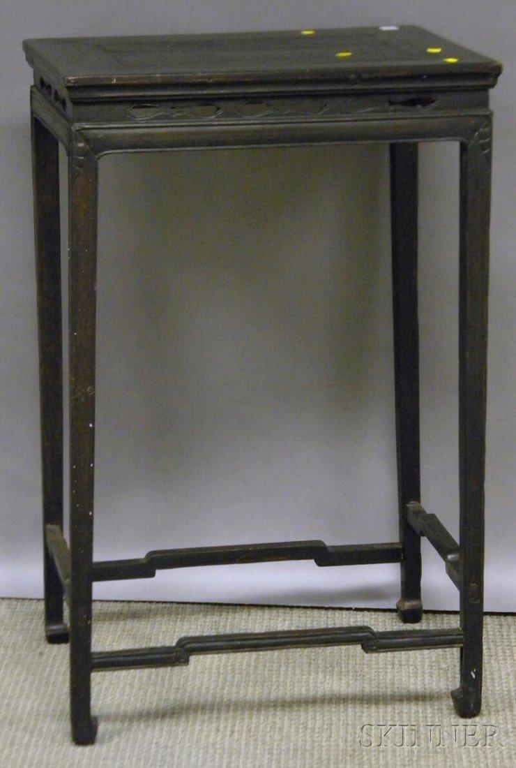715: Asian Export Ebonized Carved Hardwood Stand, ht. 3