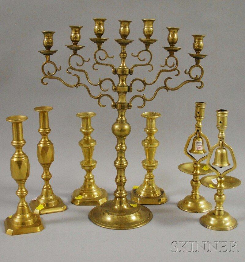 716: Brass Seven-light Candelabrum and Three Pairs of C