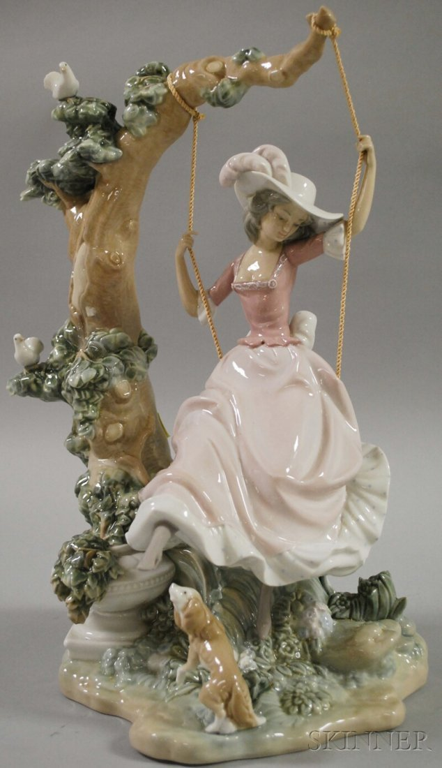 1000: Large Lladro Porcelain Figure of a Lady on a Swin